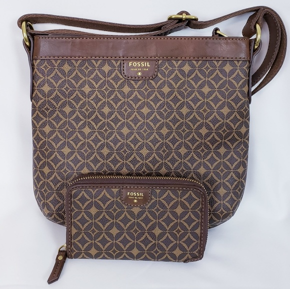 Fossil Handbags - Fossil brown sydney crossbody purse & wallet